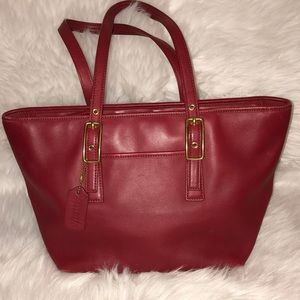 Vintage Coach Red Leather Tote